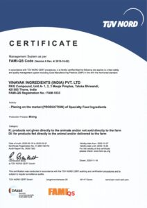 FAMI-QS Certificate 2020-23 Placing on the market of speciality feed ingredients Vinayak ingredients India