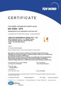 ISO 22000 2018 TUV NORD CERT Certified Vinayak ingredients India Feed supplements manufacturers